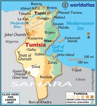 Tunézia térképe